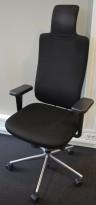 Vitra HeadLine kontorstol i sort stoff / polert aluminium, nakkepute og armlene, pent brukt