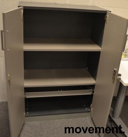 Skap med 3 ringpermhøyder fra EFG i mørkt grått skrog / grå dører, bredde 80cm, høyde 120cm, pent brukt bilde 2