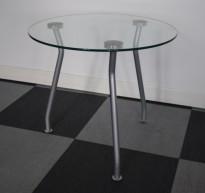 Lekkert, rundt loungebord i glass / grålakkert understell, Ø=60cm H=54cm, pent brukt