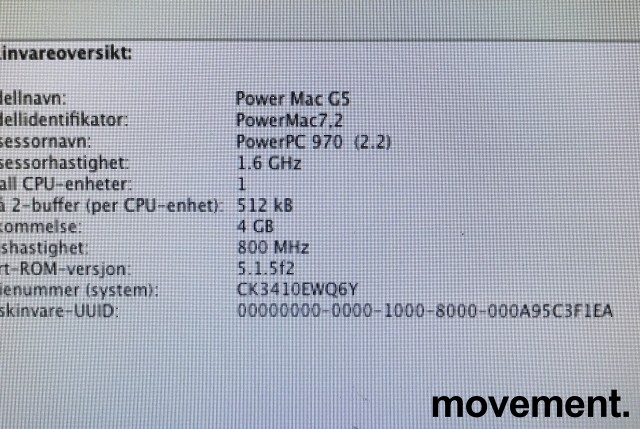 Apple Power Mac G5, PowerMac 7,2, G5 1,6/4GB/80GB/GeForce FX5200, A1047 EMC 1969, pent brukt bilde 5