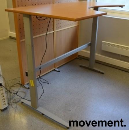 Skrivebord med elektrisk hevsenk, hjørneløsning 170x100cm, bøk plate, grått understell, pent brukt bilde 2