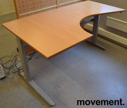 Skrivebord med elektrisk hevsenk, hjørneløsning 170x100cm, bøk plate, grått understell, pent brukt bilde 1