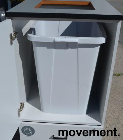 Skap for kildesortering / søppelløsning i lys grå fra Svenheim, restavfall og plast e.l., Bredde 60cm, høyde 115cm, pent brukt bilde 2