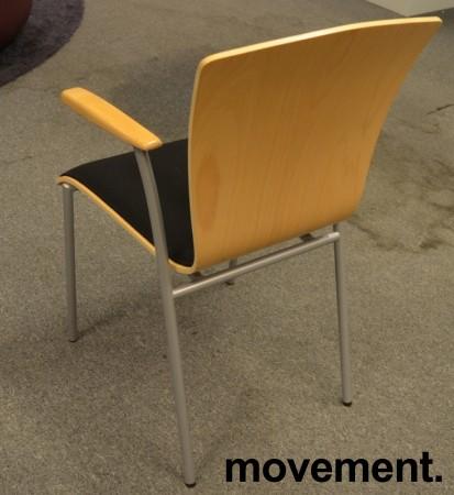 Stablestol i bøk / sort stoff med armlene fra Scan Sørlie, pent brukt bilde 2