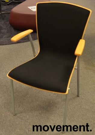 Stablestol i bøk / sort stoff med armlene fra Scan Sørlie, pent brukt bilde 1