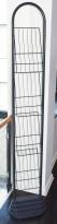 Swedstyle brosjyrestativ i metall, 1sidig, 4 stk A4, gulvstående, mørkegrått metall, brukt