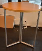 Barbord / ståbord i eik / satinert stål fra Kinnarps, Deciso-serie, Ø=90cm, høyde 111cm, pent brukt