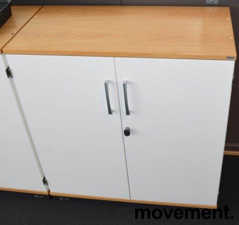 Kinnarps 2høyders ringpermreol i hvitt, eik topp-plate, 80cm bredde, 85,5cm høyde, pent brukt bilde 1