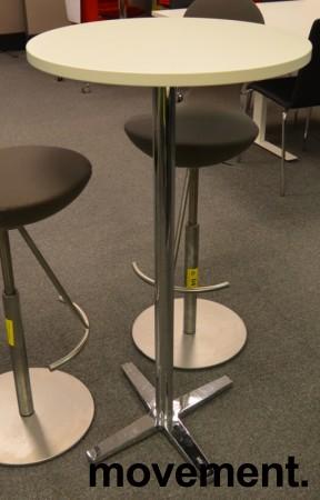Ståbord / barbord fra Materia med rund bordplate i hvitt, Ø=60cm, understell i krom, pent brukt understell / NY plate bilde 2