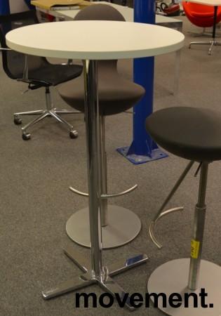 Ståbord / barbord fra Materia med rund bordplate i hvitt, Ø=60cm, understell i krom, pent brukt understell / NY plate bilde 1