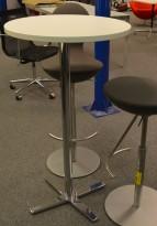 Ståbord / barbord fra Materia med rund bordplate i hvitt, Ø=60cm, understell i krom, pent brukt understell / NY plate