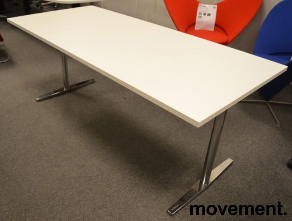 Møtebord / kantinebord fra Materia i hvitt / krom understell, 180x80cm, pent brukt bilde 1