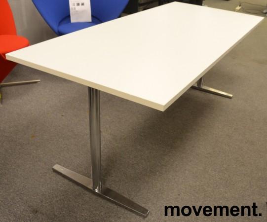 Møtebord / kantinebord fra Materia i hvitt / krom understell, 180x80cm, pent brukt bilde 2