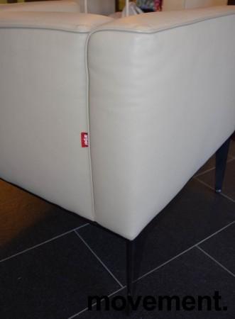 Loungestol fra Arper, modell Sean 1seter i lyst skinn med sorte ben, pent brukt bilde 2