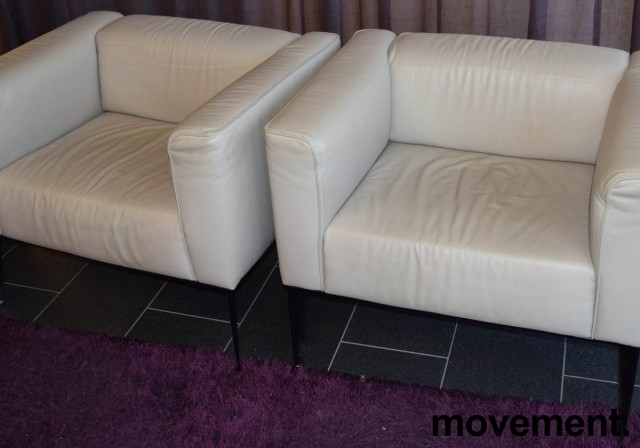Loungestol fra Arper, modell Sean 1seter i lyst skinn med sorte ben, pent brukt bilde 3