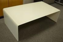 Lekkert loungebord / sofabord fra Sovet Italia i hvitt glass, Bridge 110x60cm, høyde 36cm, pent brukt