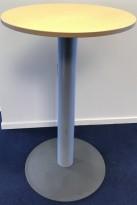 Ståbord fra Kinnarps, rund bordplate i bøk, Ø=70cm, H=110,5cm, pent brukt