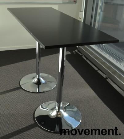 Barbord / ståbord i sort / krom, 140x60cm, høyde 94cm, pent brukt bilde 1