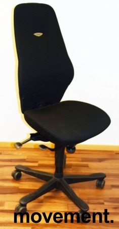 Kontorstol: Kinnarps Synchrone 8000 / Plus 8 i sort stoff, høy rygg, pent brukt bilde 1