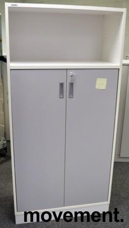 Svenheim Titan skap i hvitt med grå dør, 4permhøyder, bredde 80cm, høyde 166cm, pent brukt bilde 1