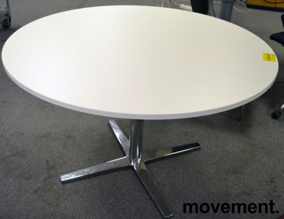 Rundt møtebord / konferansebord / kantinebord i hvitt / krom fra Materia, Ø=120cm, pent brukt