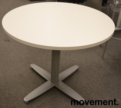 Loungebord i hvitt / grålakkert metall fra Kinnarps, T-serie, Ø=90cm, høyde 73cm, pent brukt / NY plate