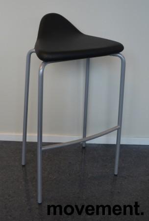 Barstol fra Materia, modell Plektrum i sort skinn / krom, 78cm sittehøyde, pent brukt bilde 1