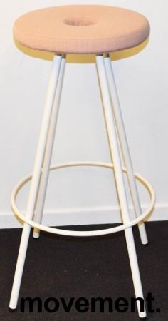 Barstol / Barkrakk fra Martela, modell Drop, rosa stofftrekk sete, hvitt understell, 80cm sittehøyde, pent brukt bilde 1