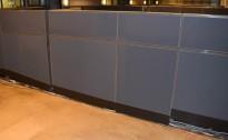 Skillevegg-modul til kontor fra Kinnarps, 120B 150H, Zonit-serie, Grå farge, Lyddempende / Kabelkanal, pent brukt