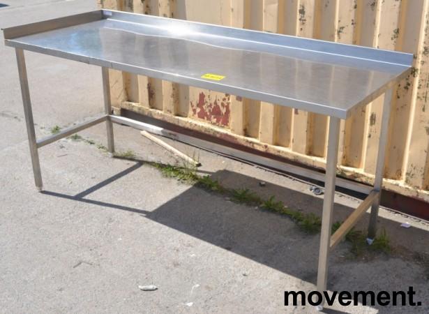 Arbeidsbenk i rustfritt stål, 190cm bredde, 70cm dybde, 89cm høyde, pent brukt bilde 1