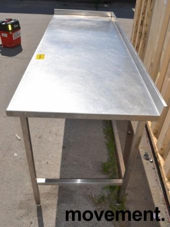 Arbeidsbenk i rustfritt stål, 190cm bredde, 70cm dybde, 89cm høyde, pent brukt bilde 3