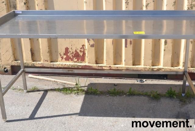 Arbeidsbenk i rustfritt stål, 190cm bredde, 70cm dybde, 89cm høyde, pent brukt bilde 2