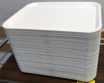 Kantinebrett, 49 stk i lys grå plast 43,5x33cm, selges samlet, pent brukte