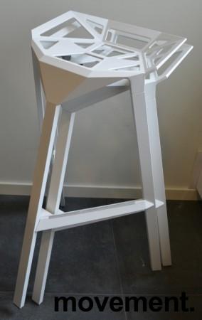 Lekker designbarkrakk, Magis Stool one i hvitt, sittehøyde 77cm, pent brukt bilde 3