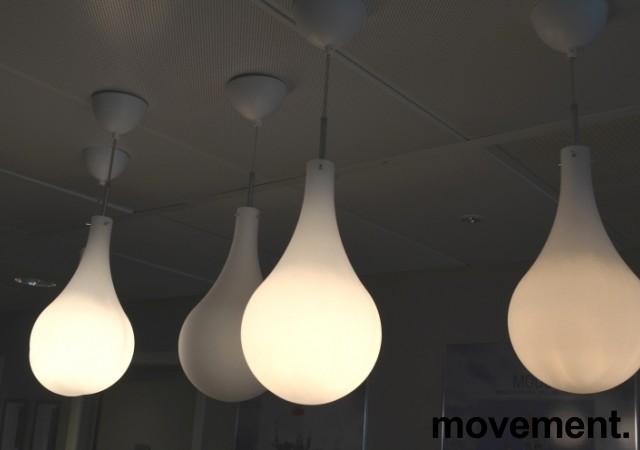 Taklampe / pendellampe Belid Cooper, hvitt glass, Ø=20cm, pent brukt bilde 2