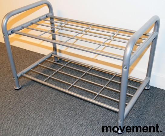 IKEA Logga skohylle i grålakkert metall, litt forskjellige modeller, 38 cm høyde, pent brukt bilde 2