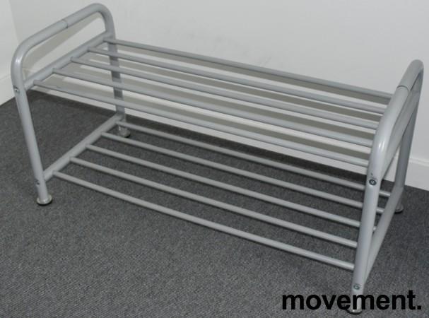 IKEA Logga skohylle i grålakkert metall, litt forskjellige modeller, 38 cm høyde, pent brukt bilde 3