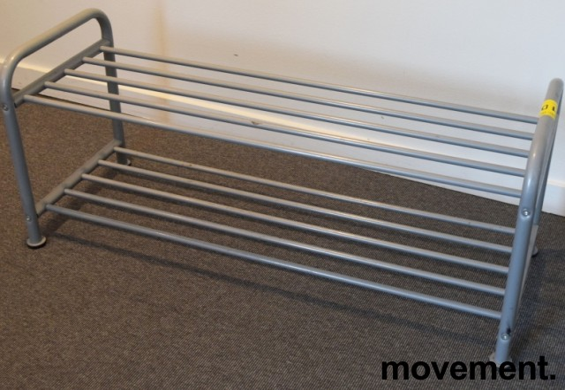 IKEA Logga skohylle i grålakkert metall, litt forskjellige modeller, 38 cm høyde, pent brukt bilde 4