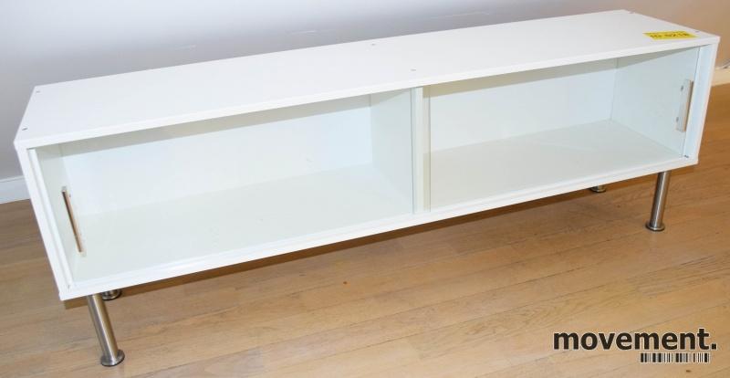 Groovy Lav skjenk / mediemøbel i hvitt medskyvedører i glass, bredde DQ-14