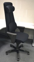 Håg Signet kontorstol, høy rygg, ryggpute og nakkepute, nytrukket i sort