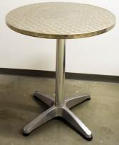 Enkle kafebord i aluminium, Ø=60cm, H=70cm, brukt med bruksslitasje