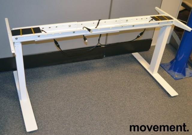 Understell for skrivebord med elektrisk hevsenk i hvitt, passer plater fra 120cm og større, pent brukt bilde 2