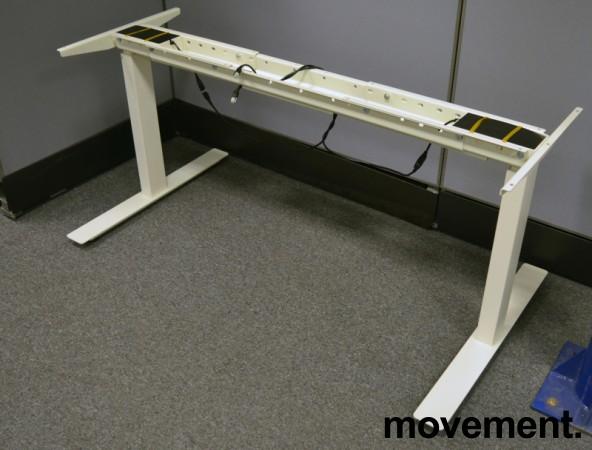 Understell for skrivebord med elektrisk hevsenk i hvitt, passer plater fra 120cm og større, pent brukt bilde 1
