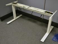 Understell for skrivebord med elektrisk hevsenk i hvitt, passer plater fra 120cm og større, pent brukt