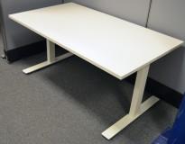Skrivebord med elektrisk hevsenk i hvitt, 140x80cm, pent brukt understell / NY PLATE