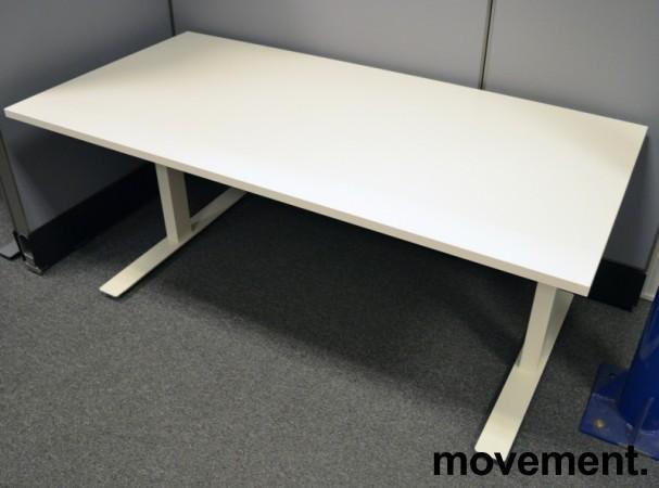 Skrivebord med elektrisk hevsenk i hvitt, 160x80cm, pent brukt understell / NY PLATE bilde 1