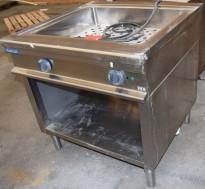 Metos vannbad / varmebad i rustfritt stål, 90cm bredde, med fast vann + avløp, 4,8kW 400V, pent brukt