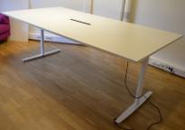 Møtebord / konferansebord med elektrisk hevsenk i hvitt, 240x120cm, passer 8-10 personer, pent brukt