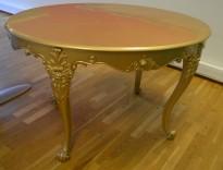 Morsomt bord i rokokko-stil, gullfarget, 125x92cm, høyde 76cm, brukt