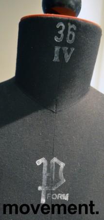 Sømbyste / skredderbyste i sort, Dame strl 36 med skulderkuler og stativ, pent brukt bilde 2